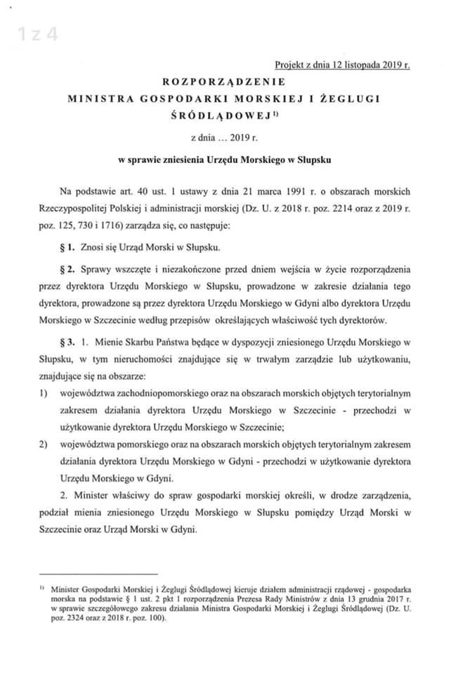 Urząd Morski w Słupsku zostanie zlikwidowany?